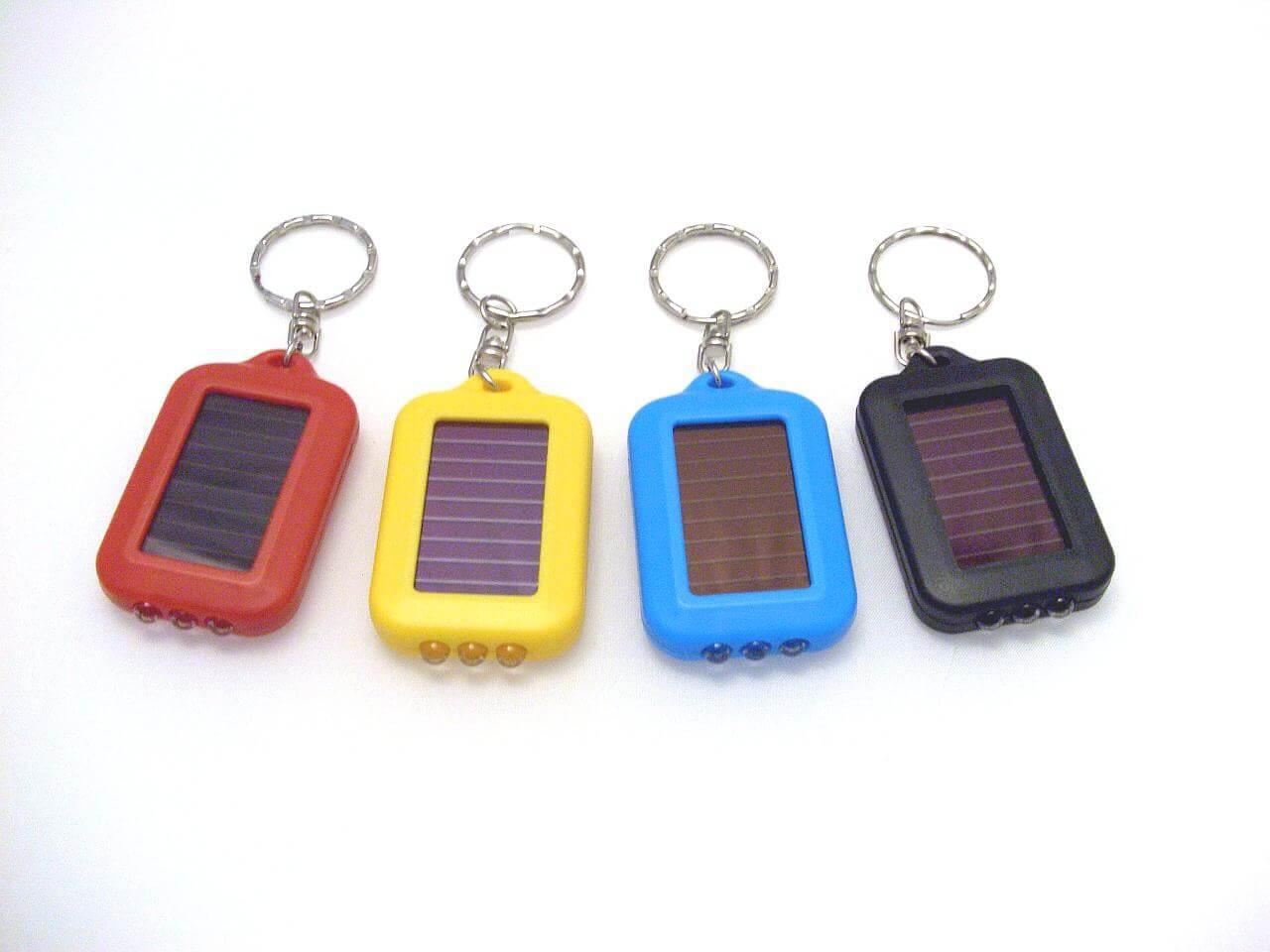 Solar-powered battery keychain