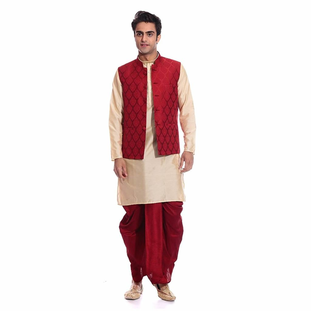 Beige Dhoti Kurta With Jacket