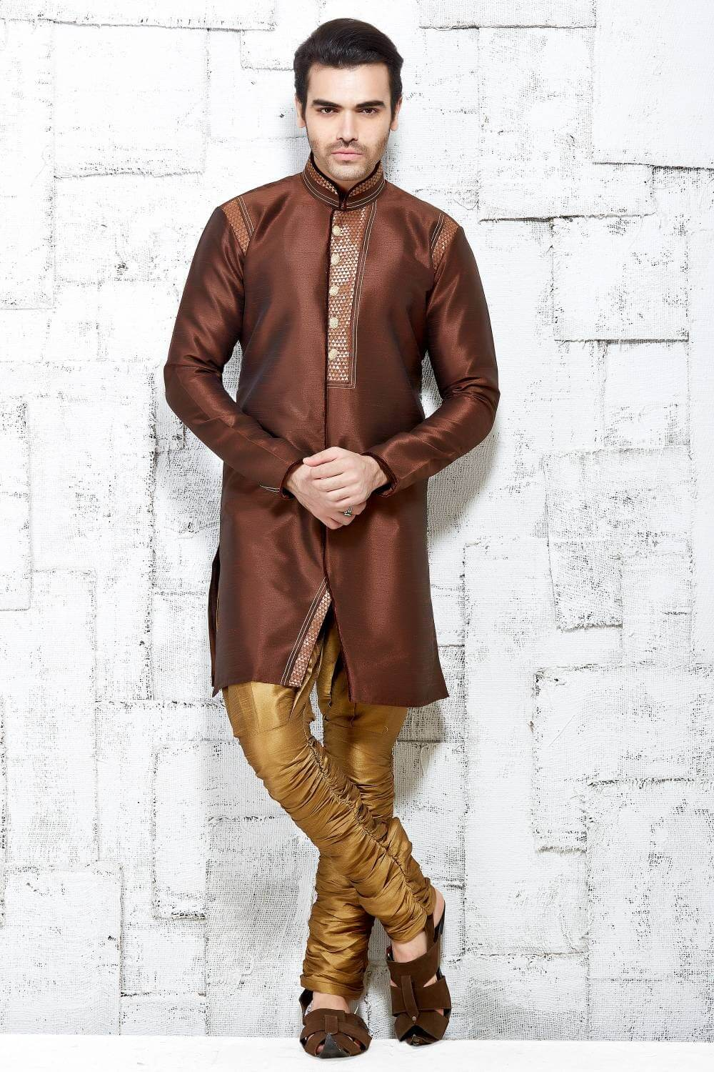 Brown Polyester Sherwani