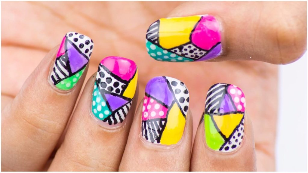 Color Blocking Nail Art Pattern
