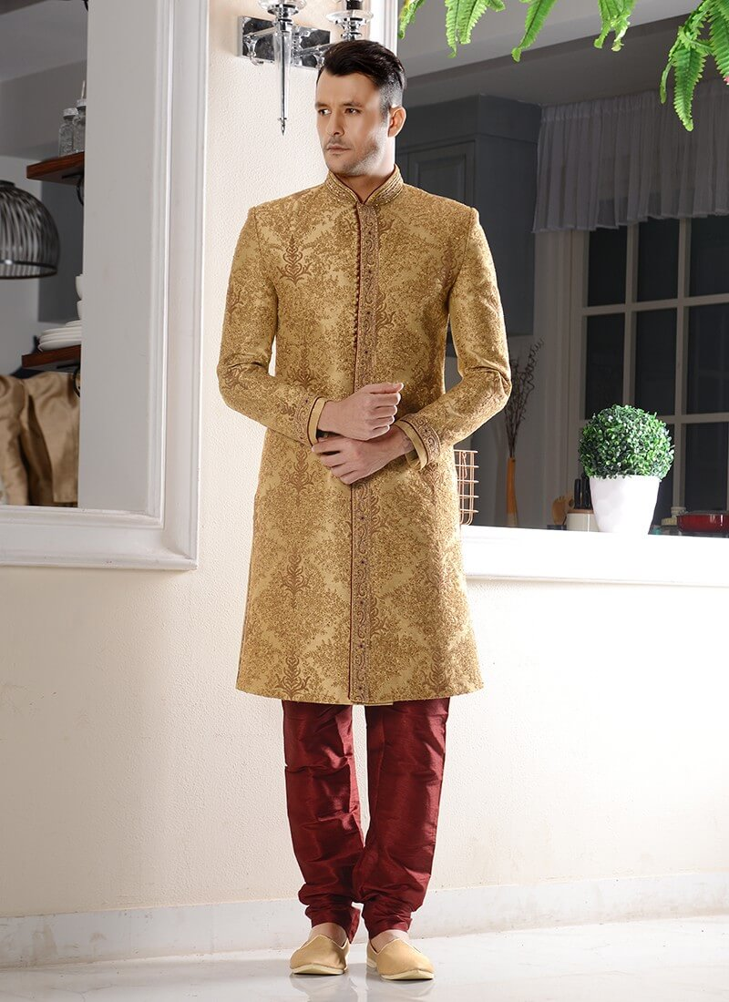 Embroidered Brocade Sherwani in Golden