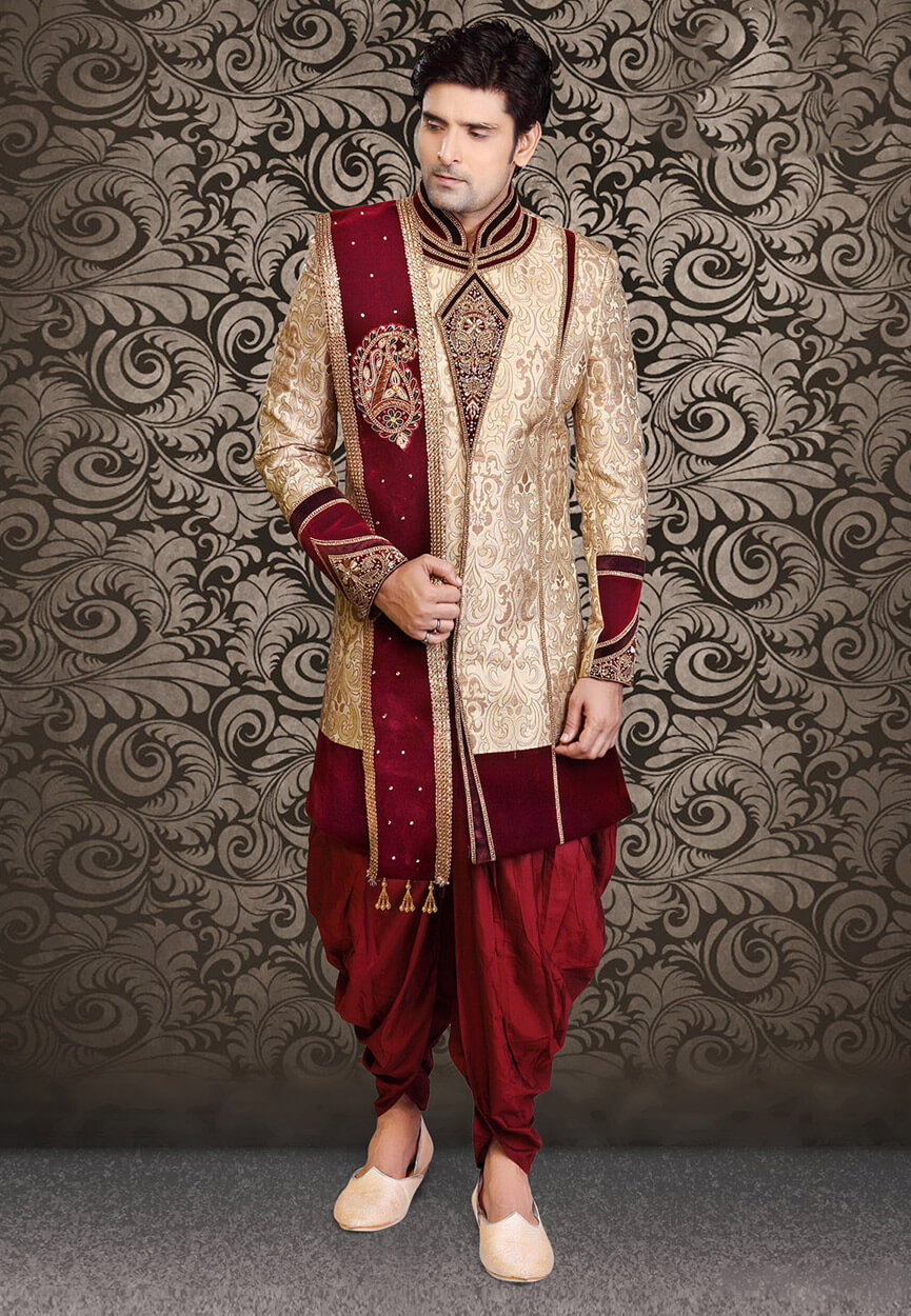 Hand Embroidered Brocade Jacket Style Sherwani in Light Beige