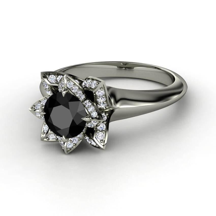 Lotus Black Diamond Ring