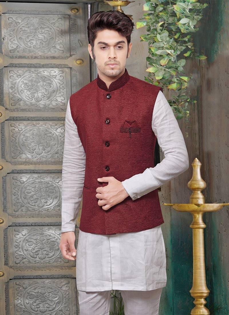 Nehru Jacket in Maroon Color