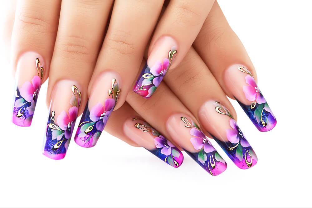 Purple-Pink Floral Nail Art