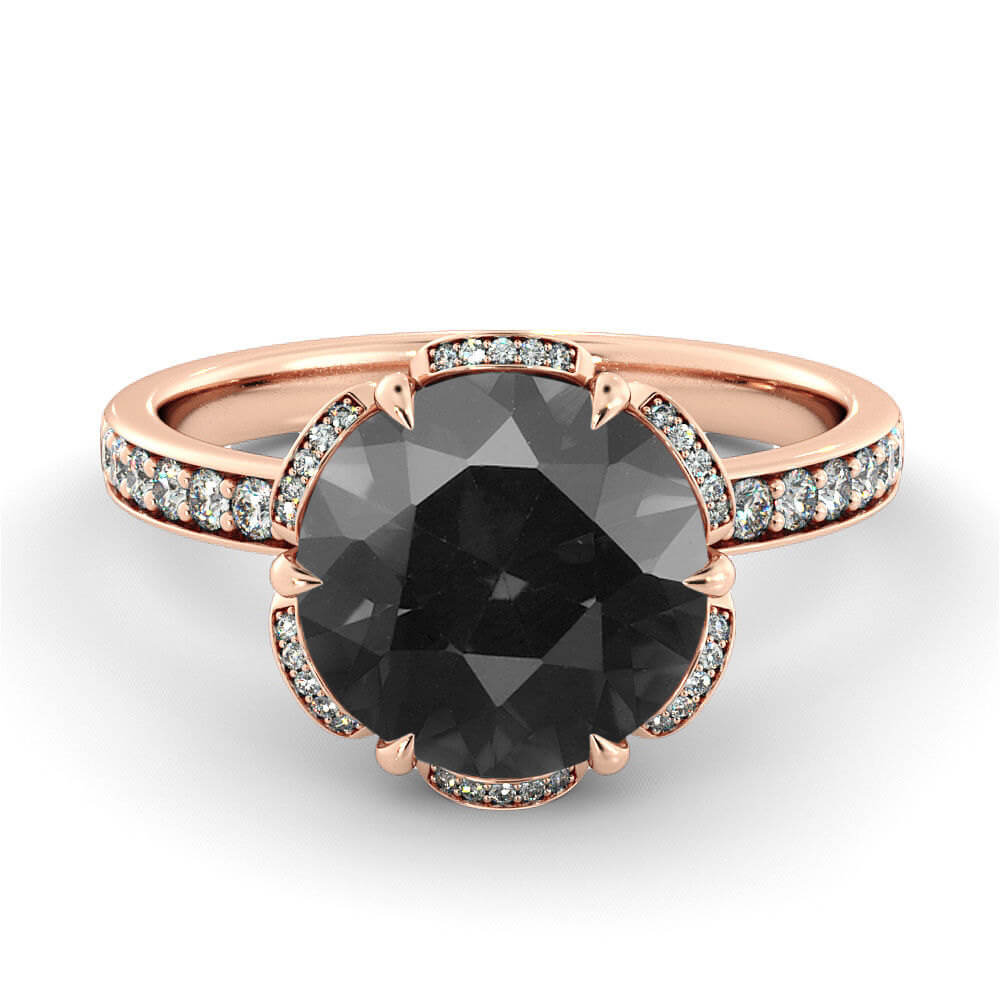 Solid Rose Gold Black Diamond Ring