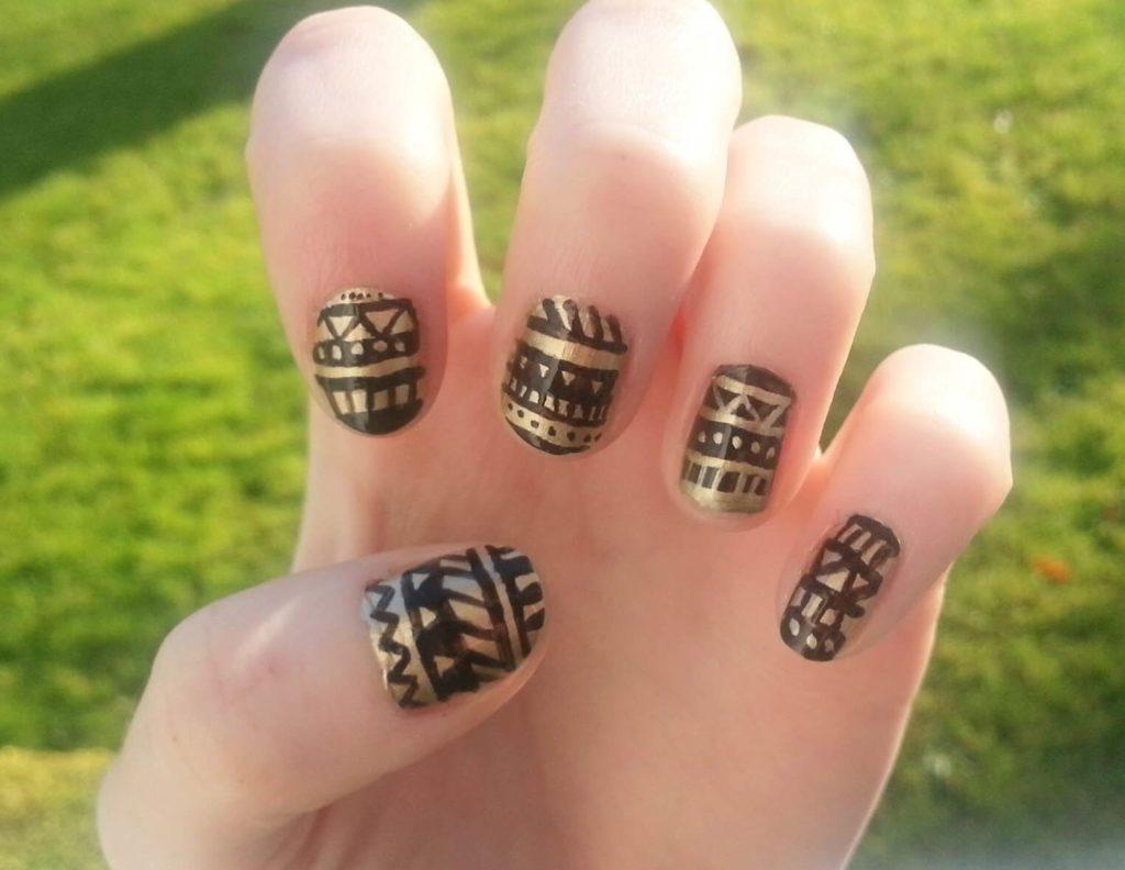 Striped Aztec Nail Art