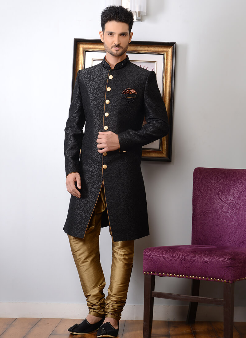 Woven Art Silk Sherwani in Black