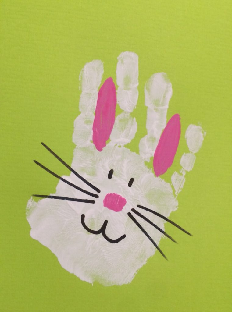 Bunny Rabbit Hand Print easter crafts