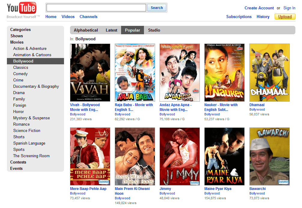 YouTube-Hindi Movie Download Site