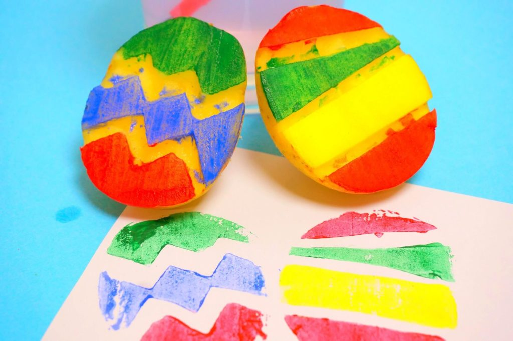 easter crafts Egg Potato Stamping