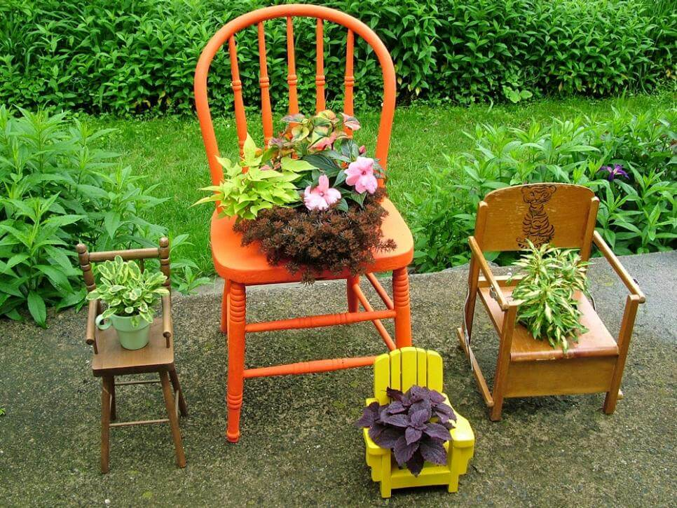 Chair diy flower pot