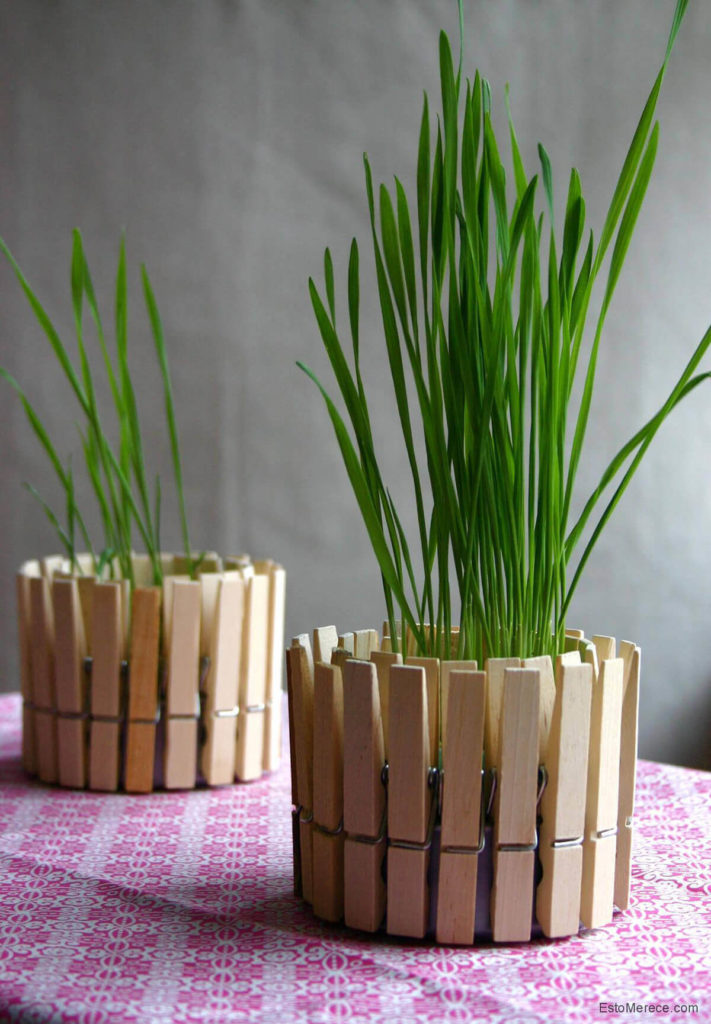 Clothespin Fence diy flower pot