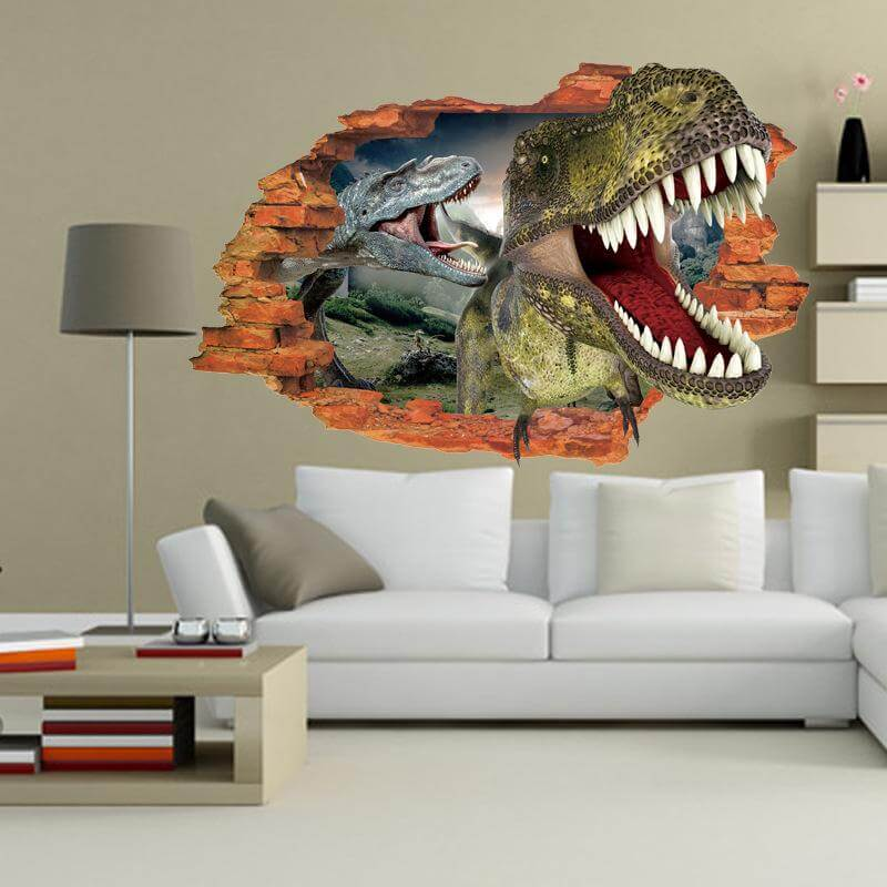 Cool 3D Dinosaur wall paint