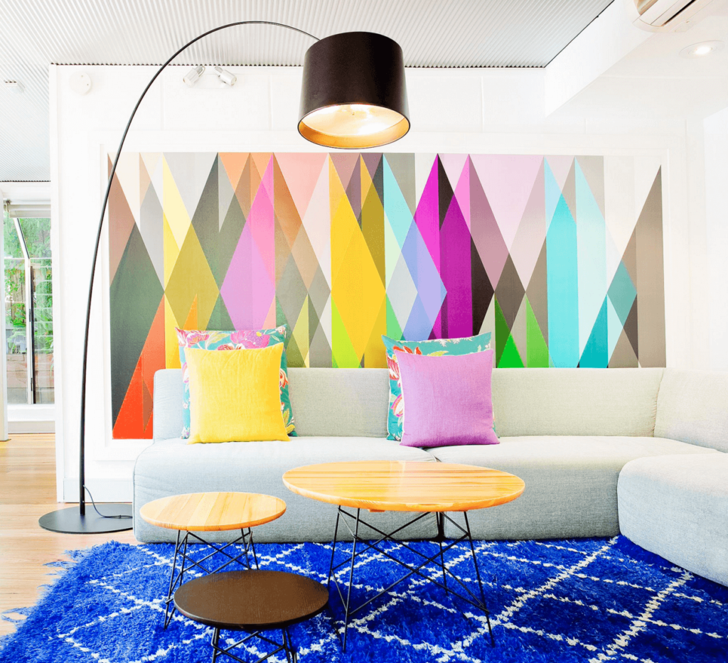 DIY Geometric wall paint in spring colors