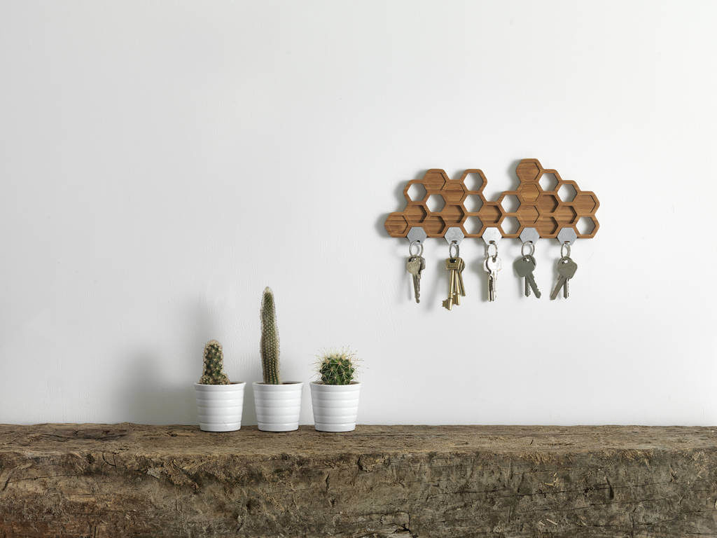 Honeycomb magnetic wooden diy Key Holder
