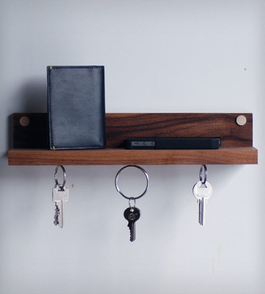 Magnetic rail wooden diy Key Holder
