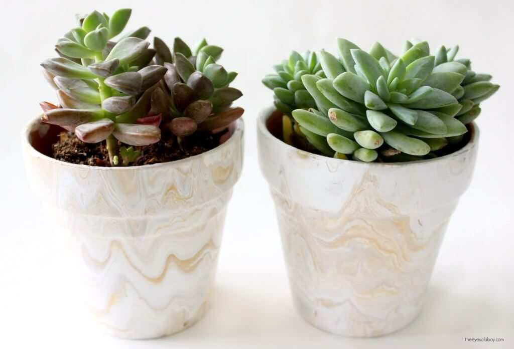 Marbled Look Terra Cotta Makeover diy flower pot