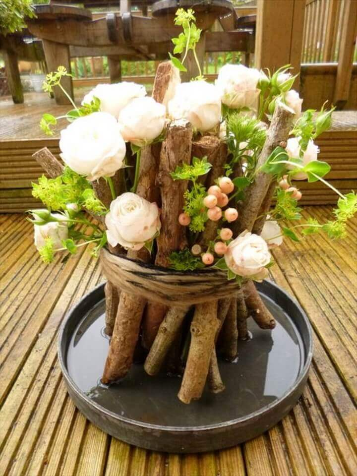 Natural Stick diy flower pot