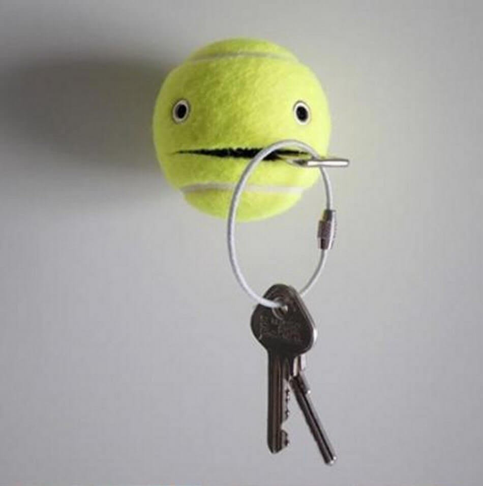 Tennis ball as a diy Key Holder