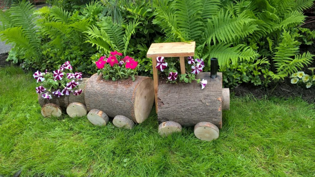 Tree Stump diy flower pot
