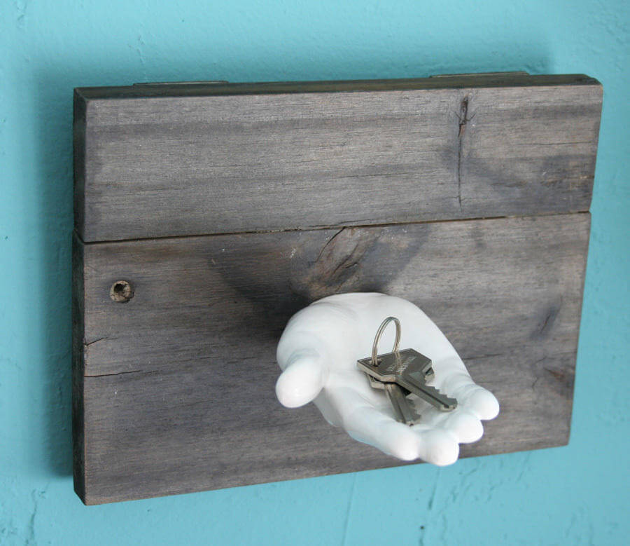 white ceramic hand diy Key Holder