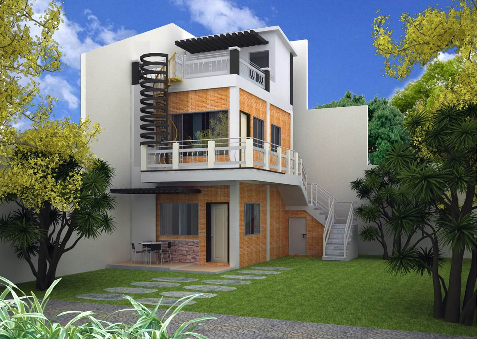 Best 3 Storey House Designs With Rooftop