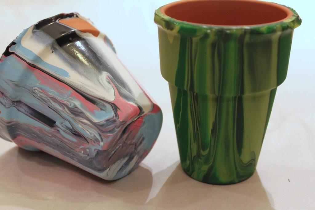 Poured Paint Pots