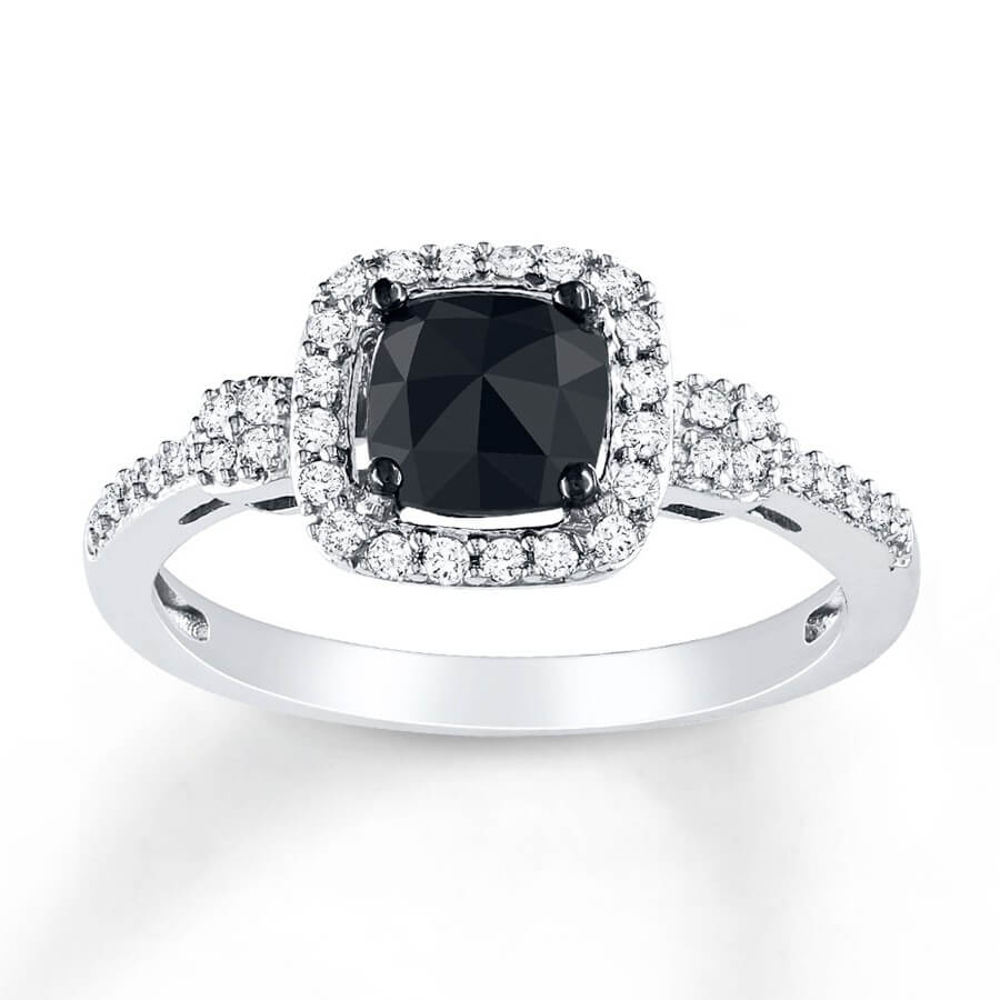 Black Diamond Ring With Matching Band