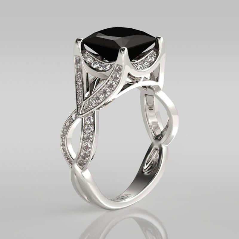 Handcuff Black Diamond Ring
