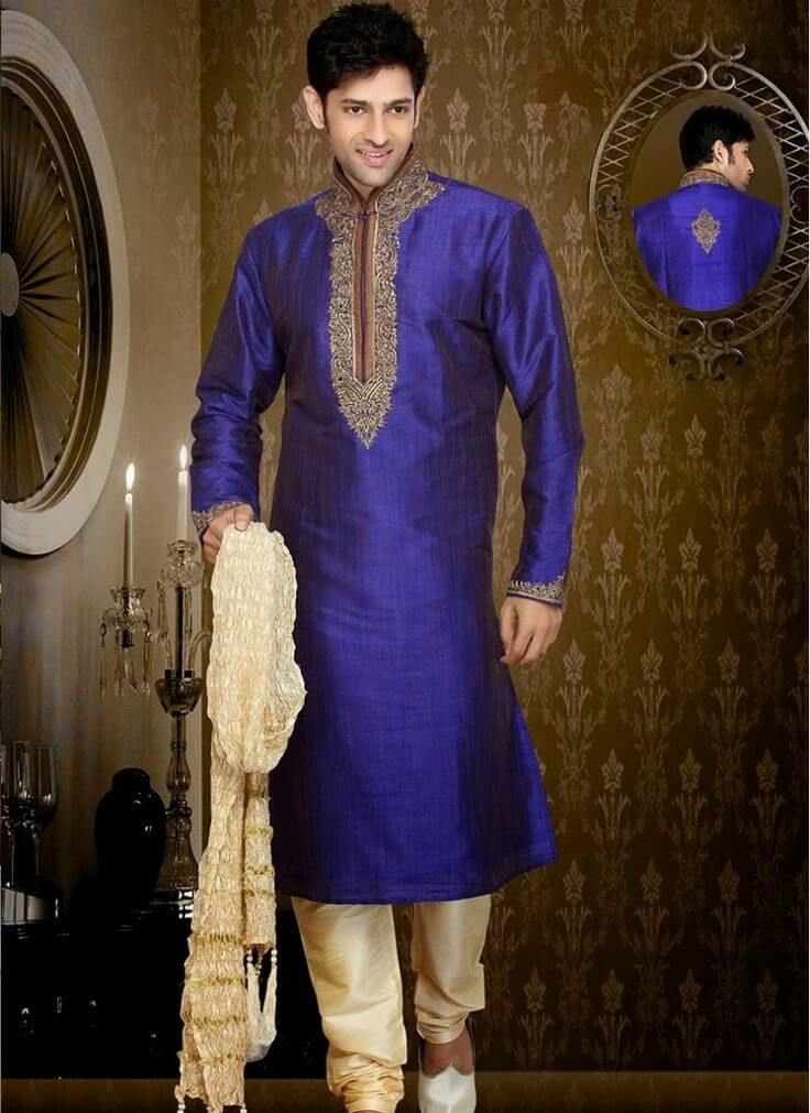 Princely Blue Embroidered Kurta