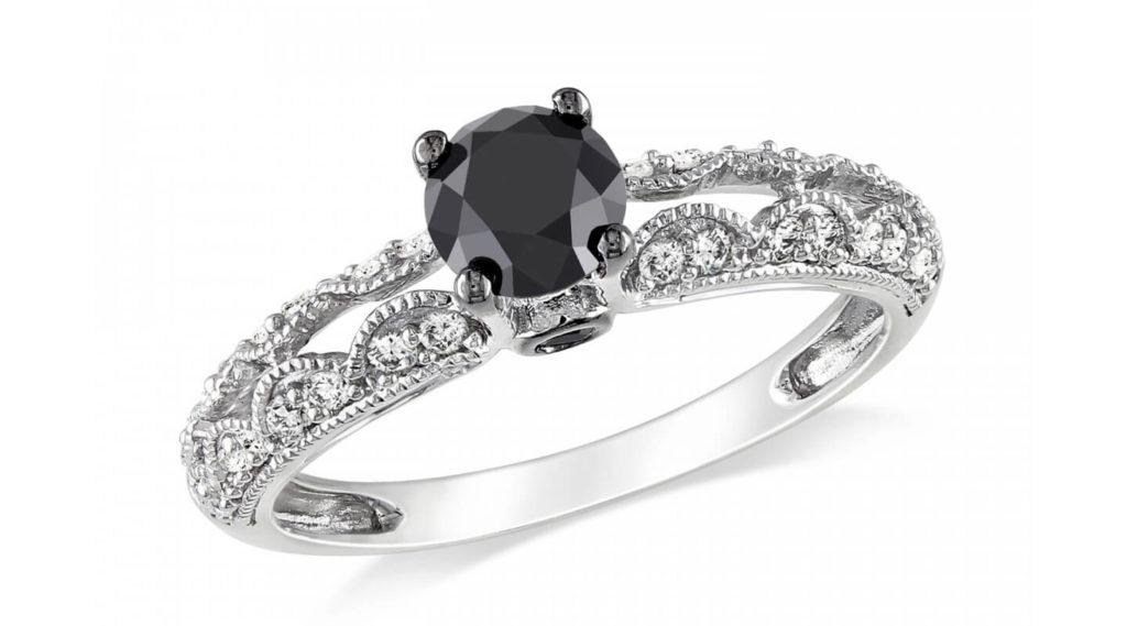 Round Fancy Black Diamond Ring