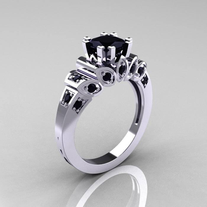 White Gold Black Diamond Ring