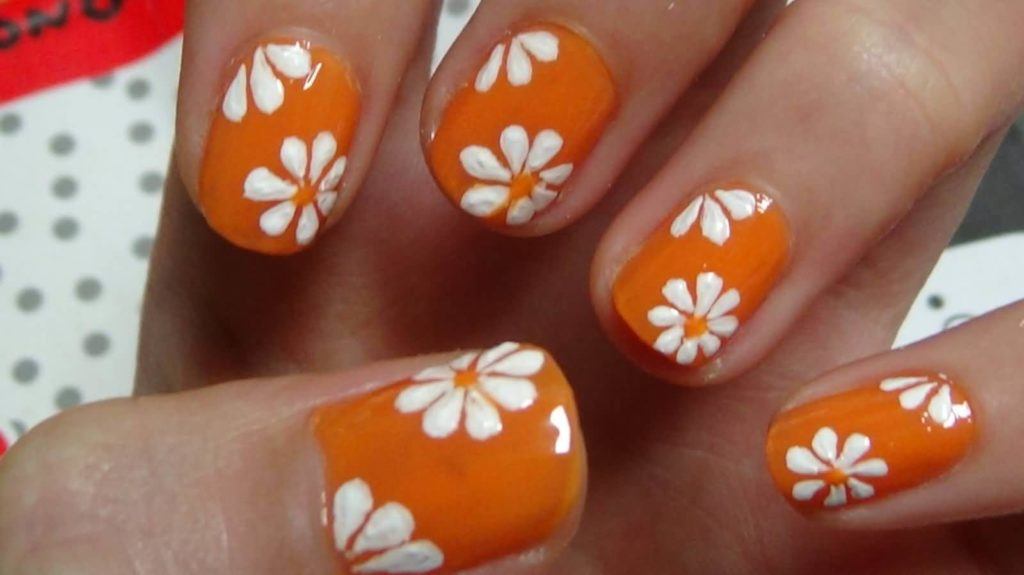 White & Orange Nail Art
