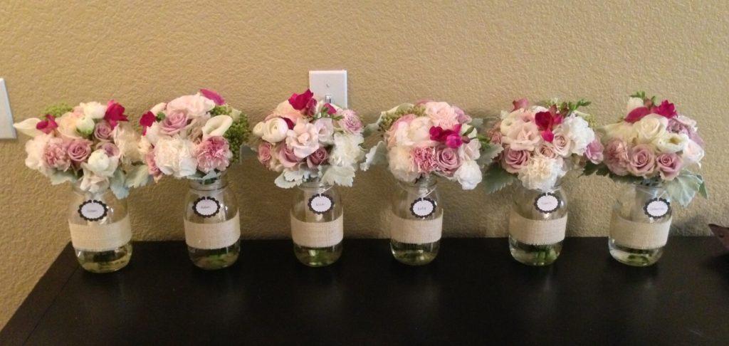 Bridesmaid's Bouquet Resting in Mason Jar