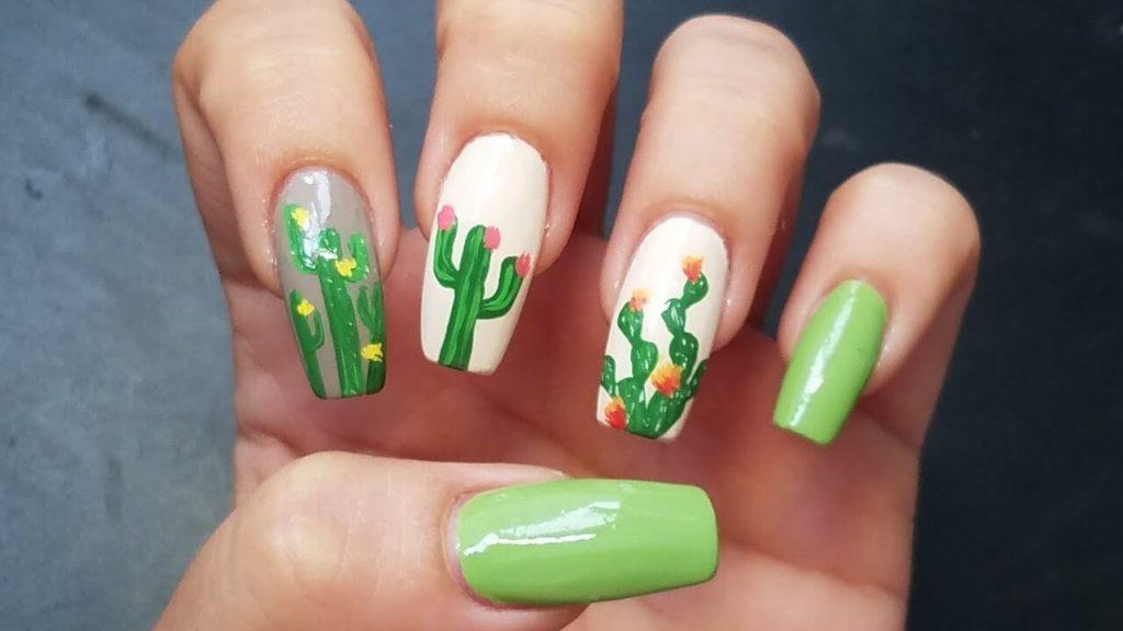 Desert Cacti nail designs 2018