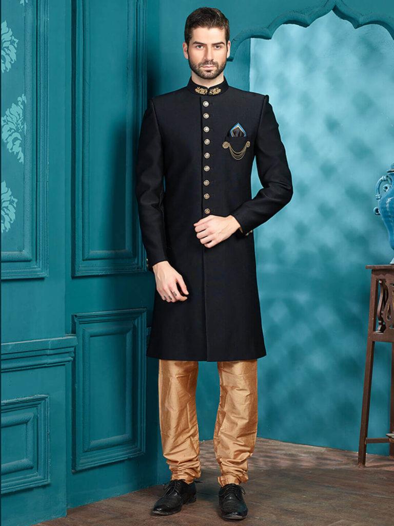 Designer Black Terry Rayon Indo Western Dresses