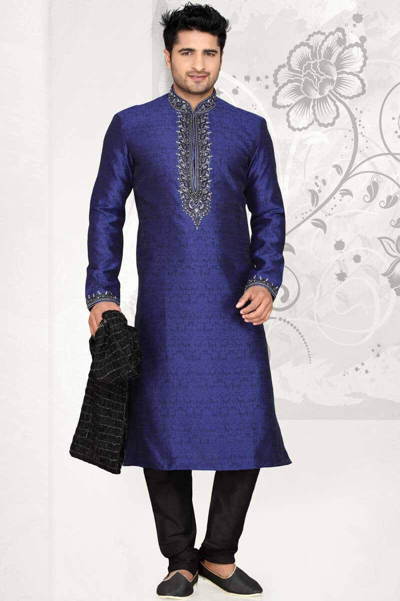 Elegant Silk Jacquard Jacket with Kurta Set Indo Western Dresses