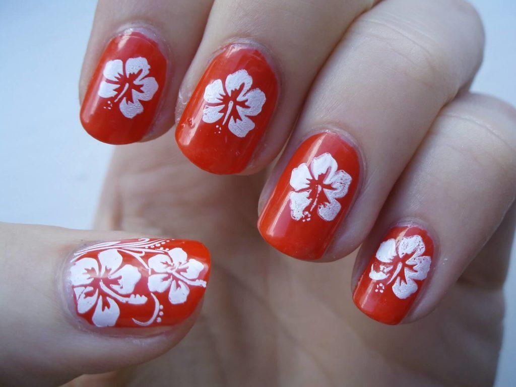 Hawaiian Flowers nail designs 2018
