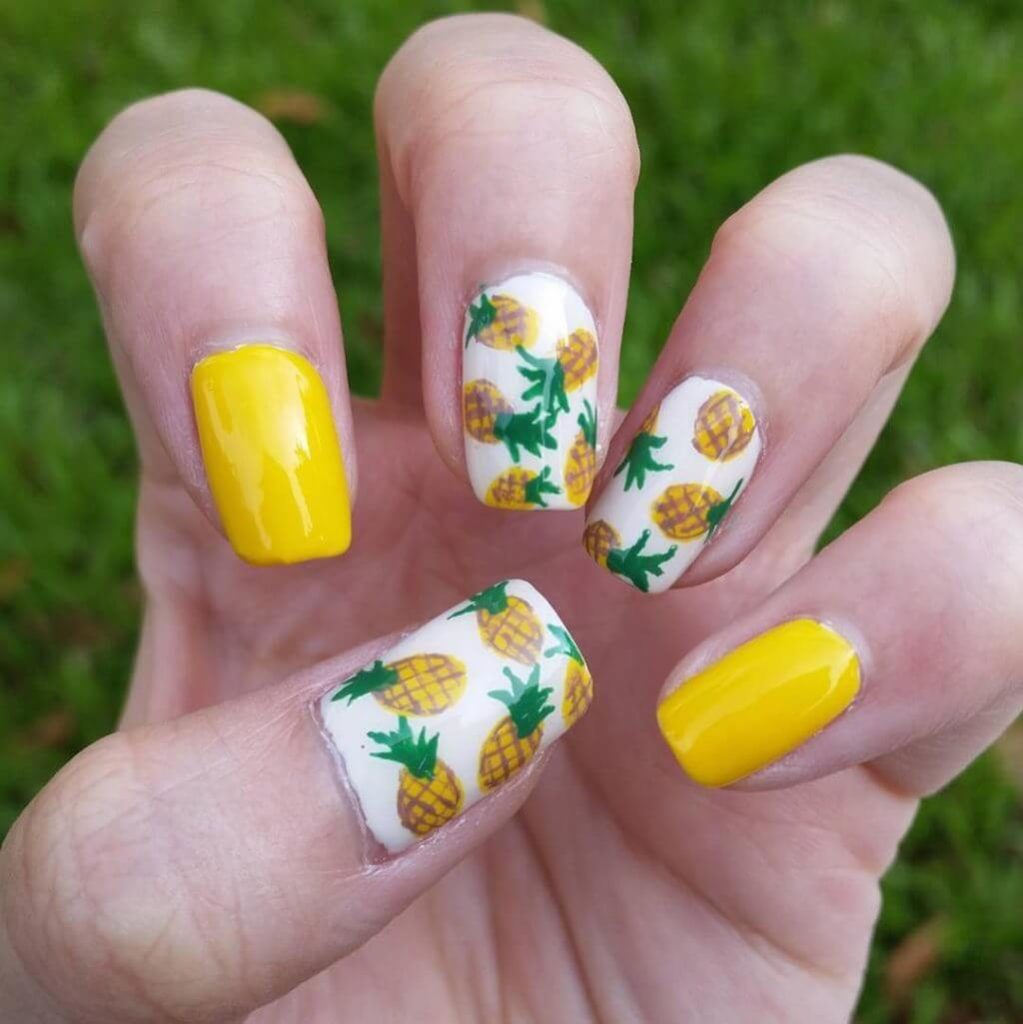 Pineapple Summer Nail Designs