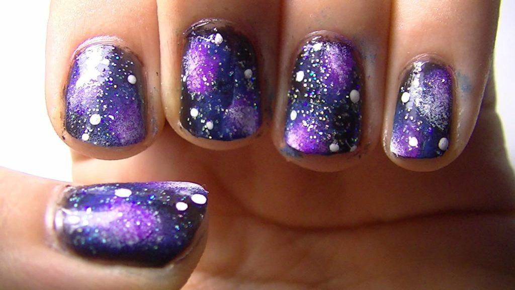 Purple Galaxy nail designs 2018