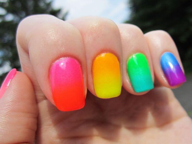 Rainbow Blur nail designs 2018