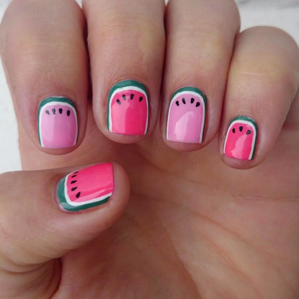 Watermelon Accent nail designs 2018