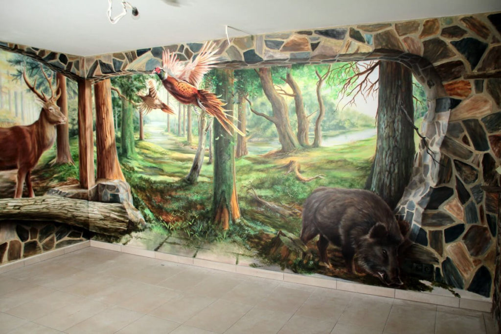 3D Wall Hunting Theme Hand wall paint