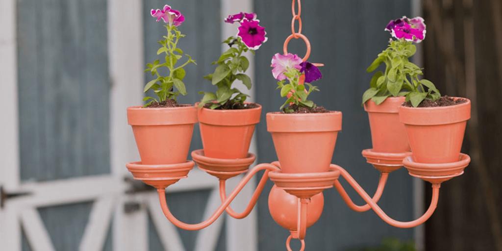 Chandelier diy flower pot