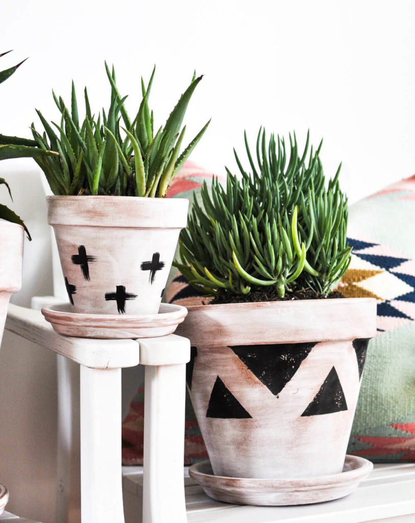 DIY Flower Pots with Whitewashed