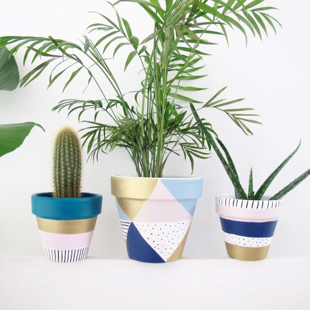 Mod Triangle and Dot diy flower pot
