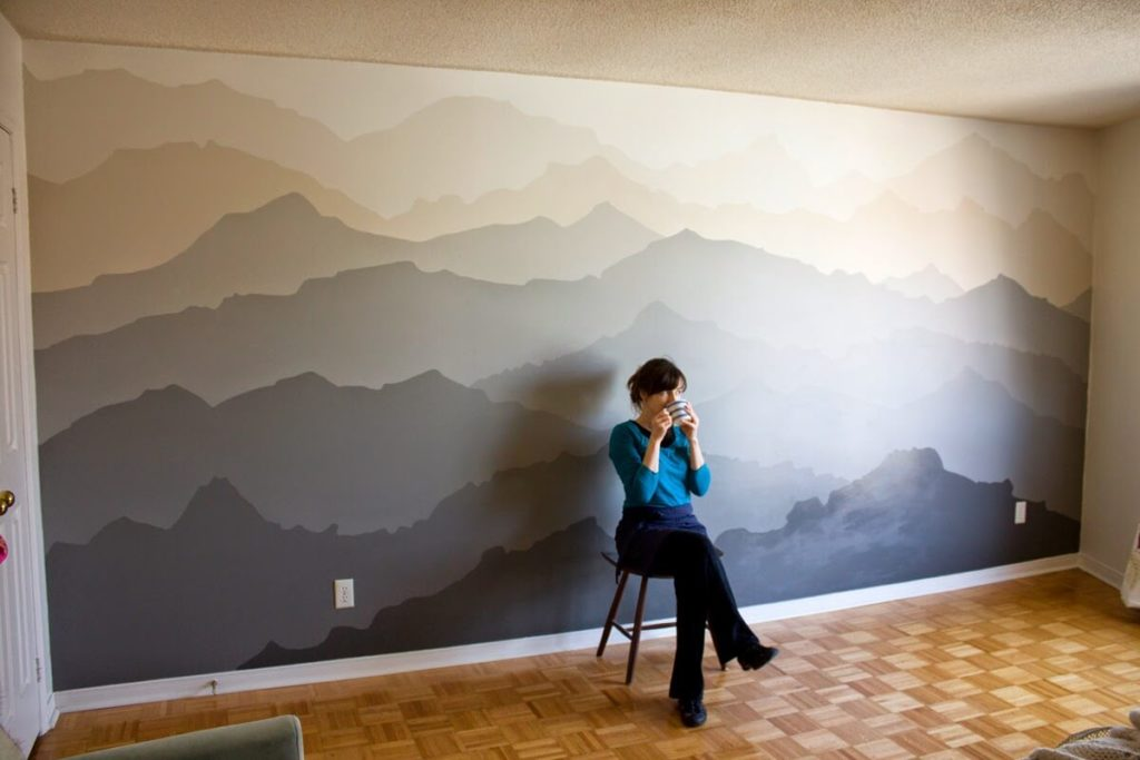 Mountain Mural Bedroom Makeover wall paint