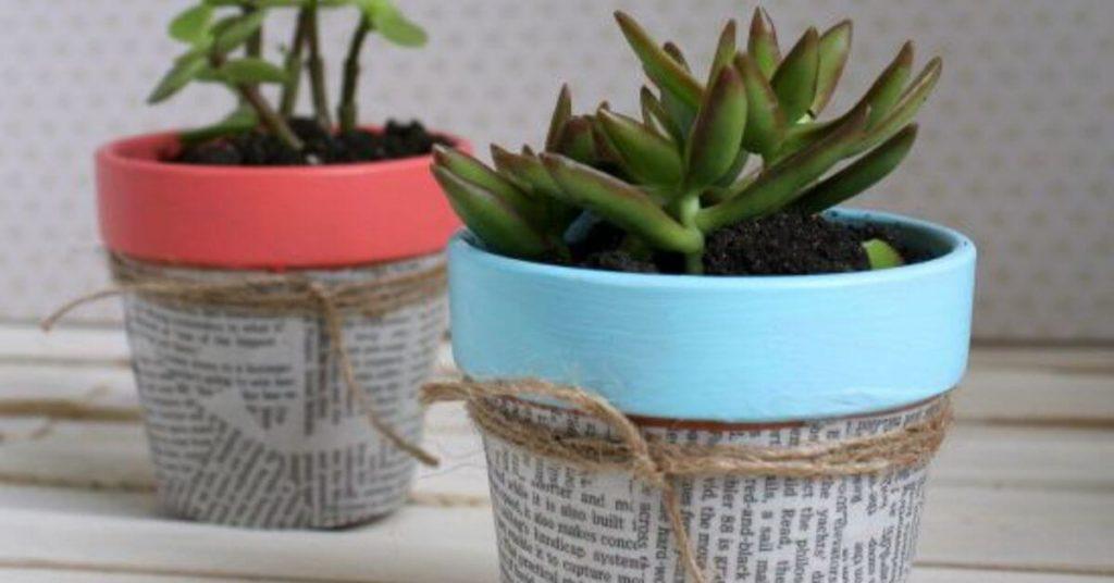 Newsprint Succulent diy flower pot