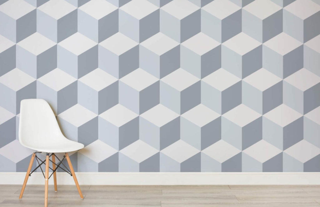 Orange and Wood Ombre 3D cube wall paint